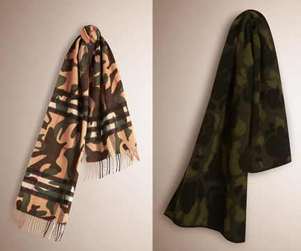 Burberry fall 2015 camo scarves