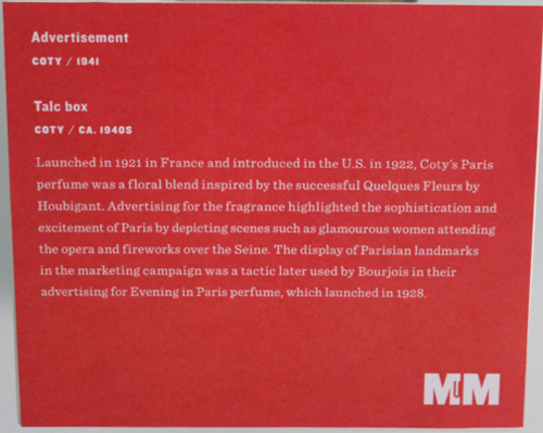 Coty Paris exhibition label