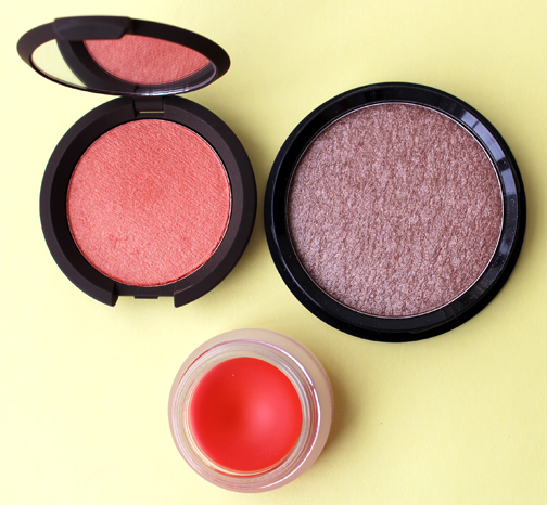 Becca Tigerlily, Bobbi Brown Beach shimmer powder, By Terry Mandarina Pulp