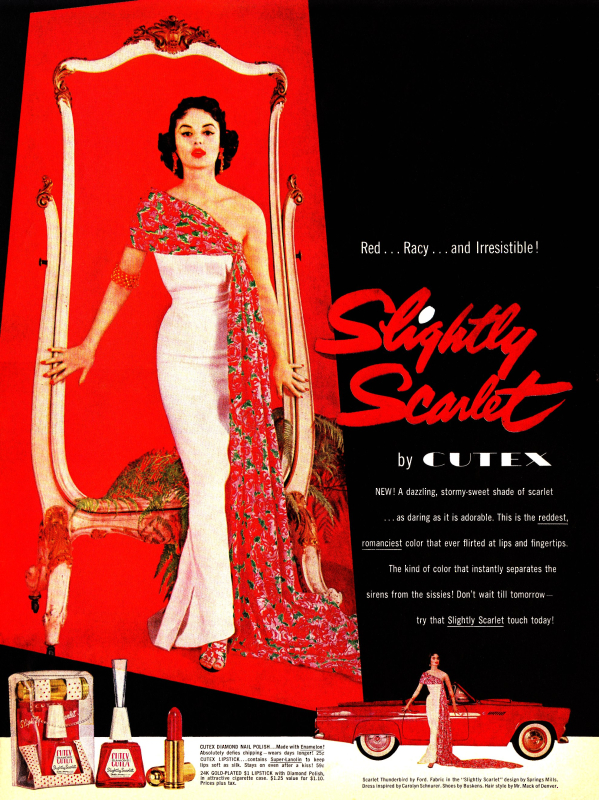 Cutex Slightly Scarlet ad, 1955