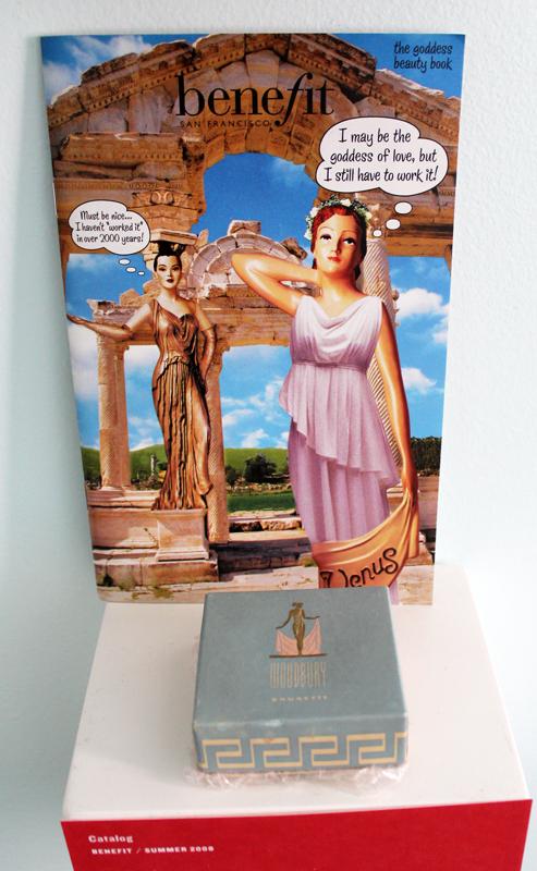 Benefit catalog (2008) and vintage Woodbury powder box