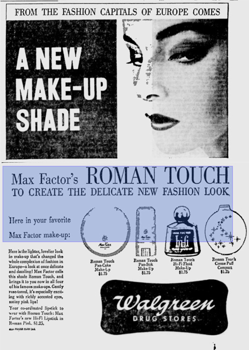 Max Factor Roman Touch ad, Deseret News, May 1, 1957