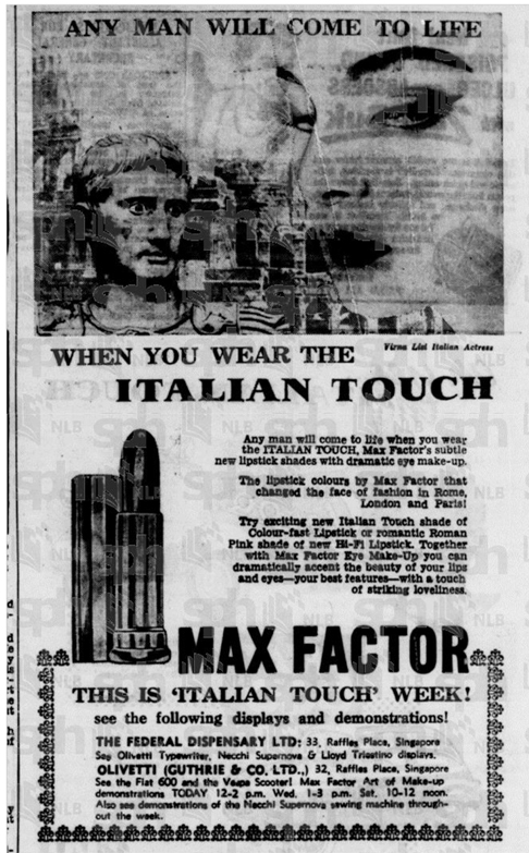 Max Factor Italian Touch ad, Straits Times, October 8, 1957
