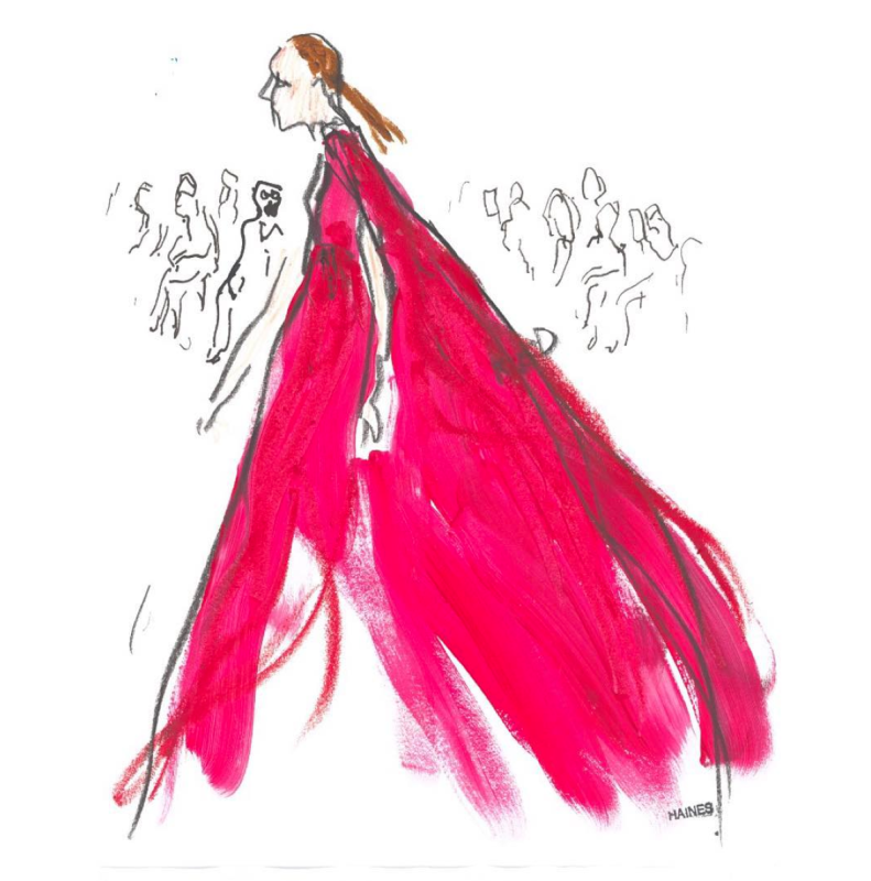 Illustration by Richard Haines - Giambattista Valli couture, fall 2016