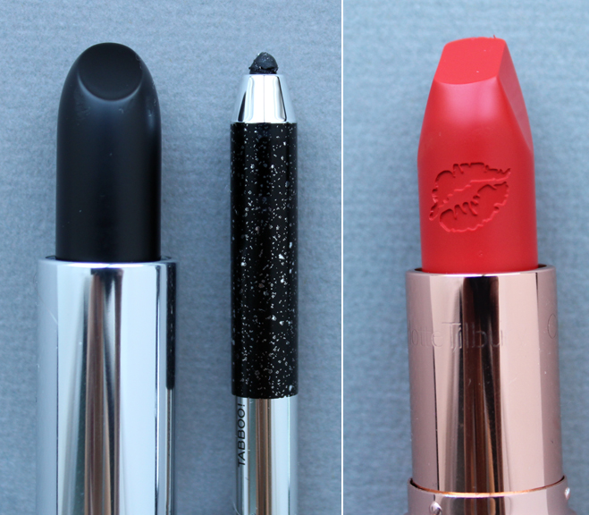 Marc Jacobs Blacquer lipstick and Tabboo eyeliner, Charlotte Tilbury Tell Laura