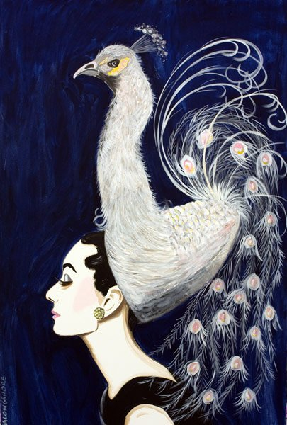 Ashley Longshore, Audrey and Peacock in the Moonlight