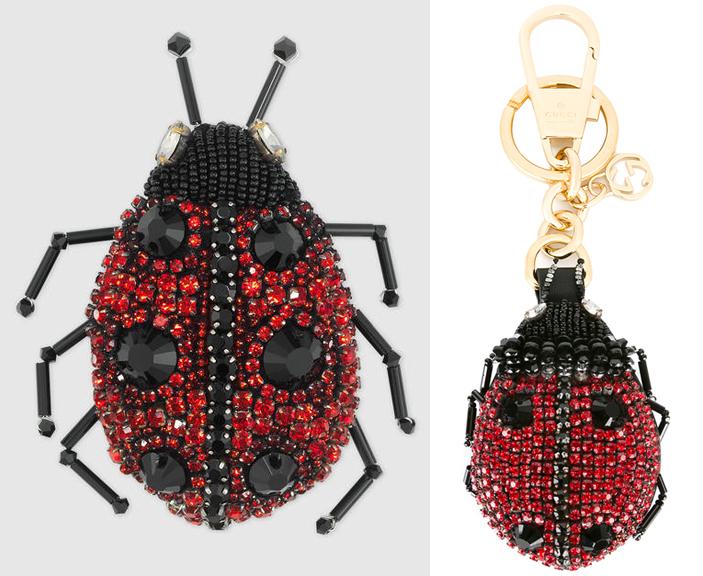 Gucci ladybug brooch and keychain