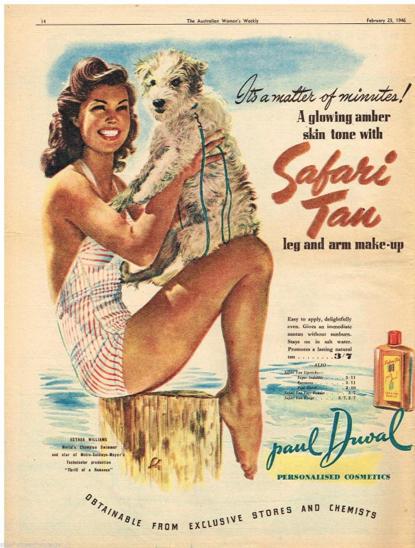 Ad for Paul Duval Safari Tan, 1946