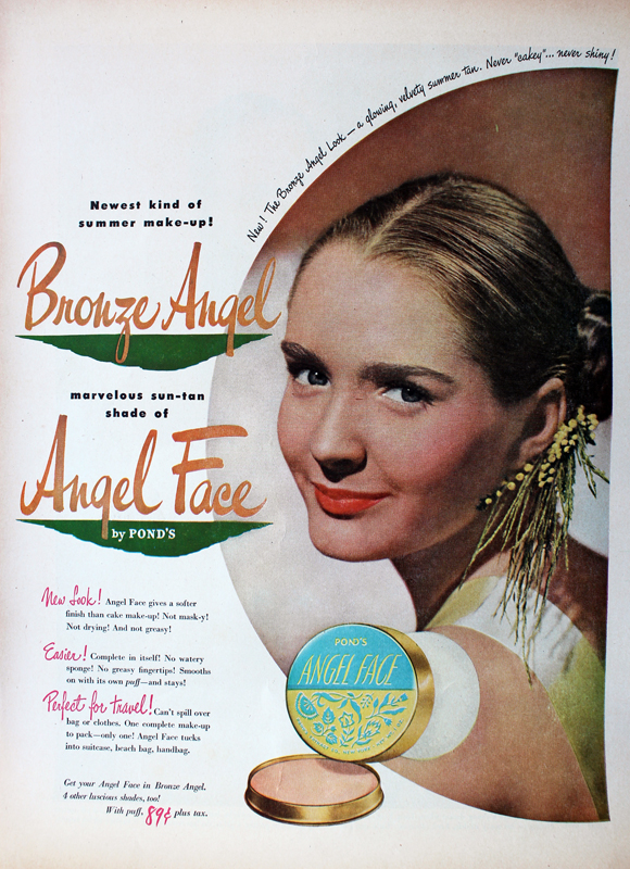 Ad for Pond's Bronze Angel Face powder, 1948
