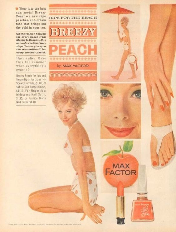 Ad for Max Factor Breezy Peach, 1962
