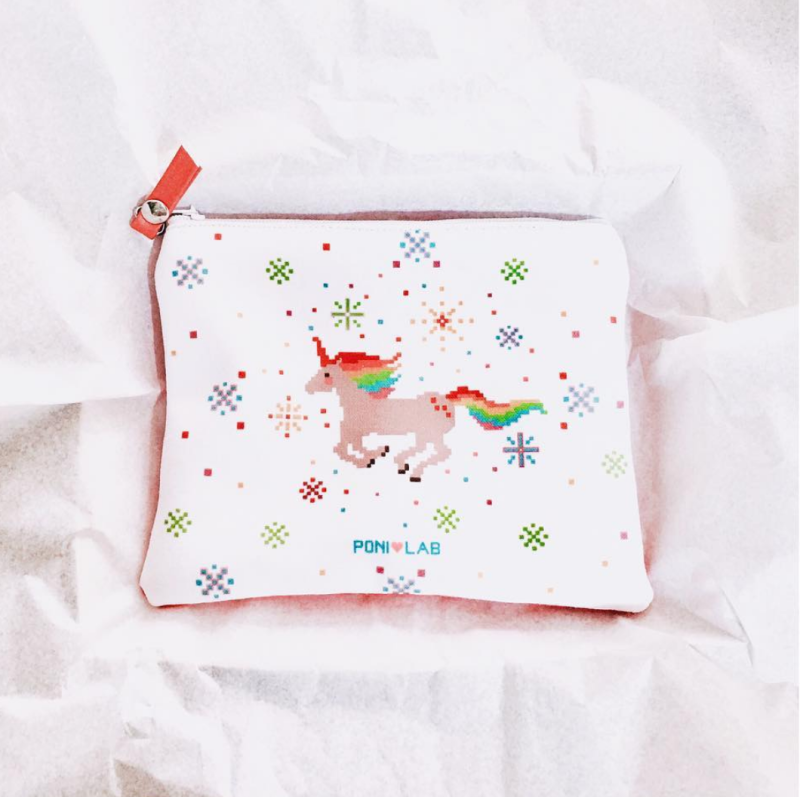 Poni Lab pixelated unicorn pouch