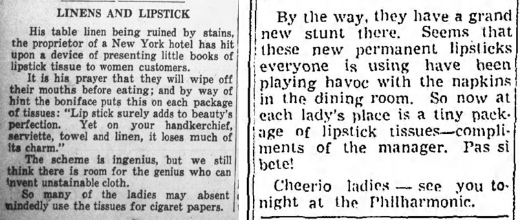 Restaurants offering lipstick tissues, 1935 and 1939