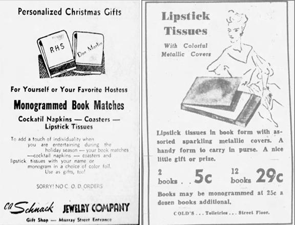 Lipstick tissue ads - 1946, 1950