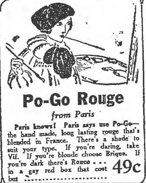 Po-Go Rouge ad, 1929