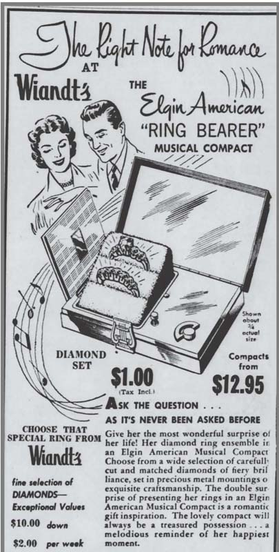"Elgin ""Ring Bearer"" compact ad, December 1954"