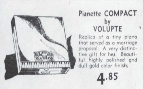 Volupté Pianette compact ad, December 1949