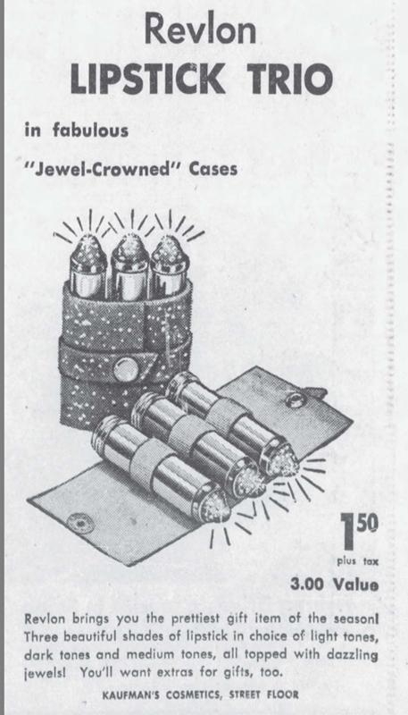 Revlon lipstick trio ad, November 1954
