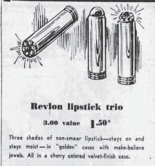 Revlon lipstick trio ad, November 1953