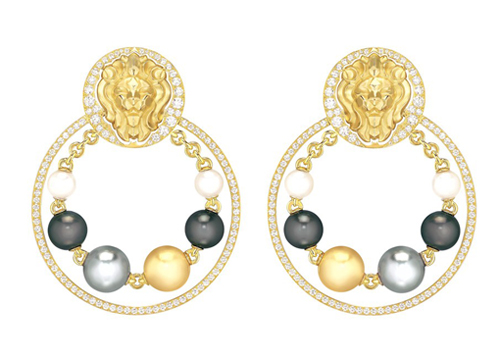 Chanel lion earrings