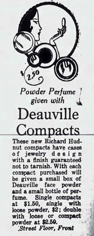 Richard Hudnut Deauville compact ad, 1926