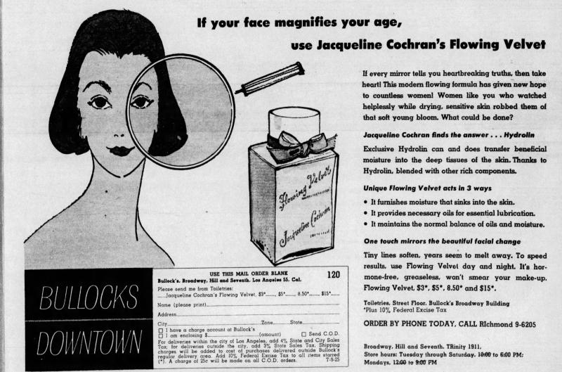 Jacqueline Cochran Flowing Velvet ad, 1955