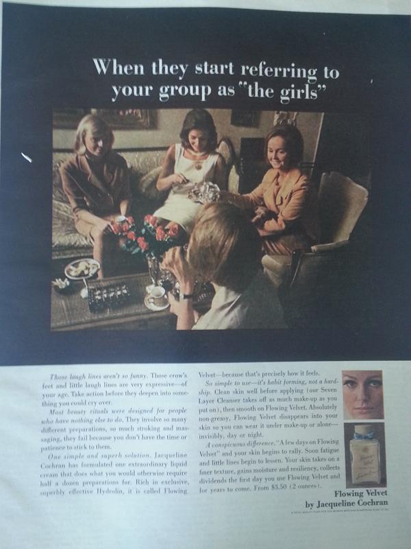 Jacqueline Cochran Flowing Velvet ad, 1967
