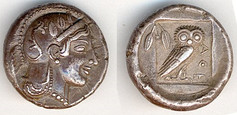 Ancient Greek coin with Athena