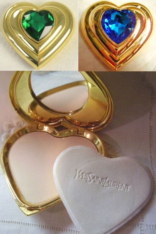 Vintage YSL heart compacts