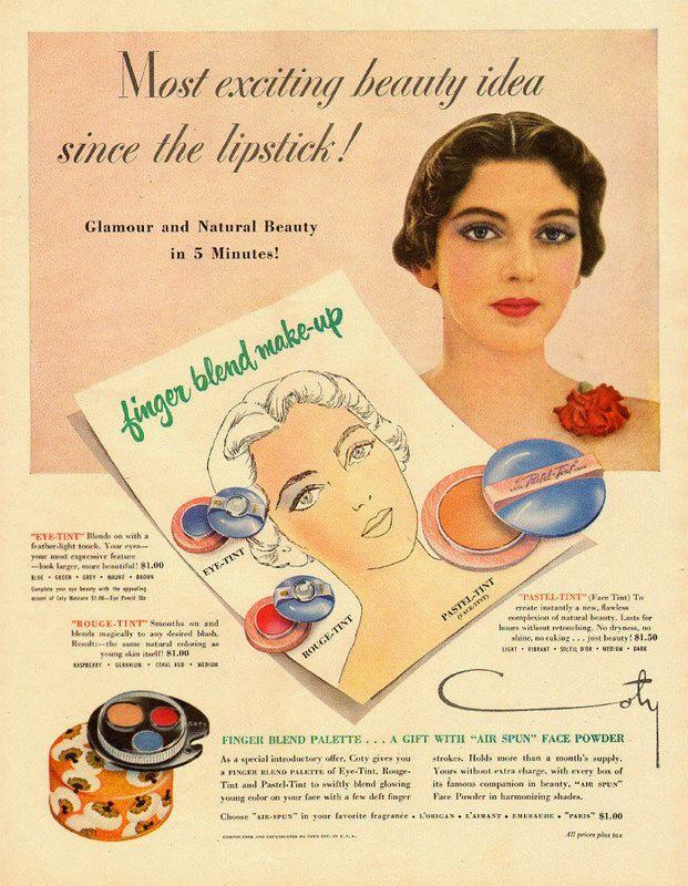 1948 Coty ad - finger blend palette
