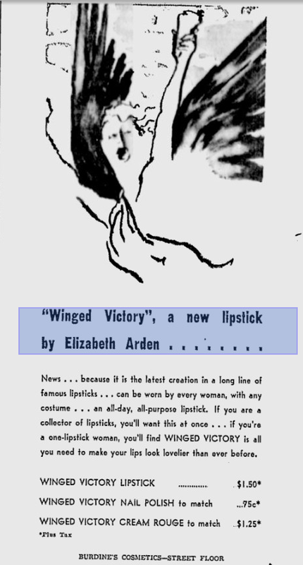 Elizabeth Arden Winged Victory newspaper ad, January 1945
