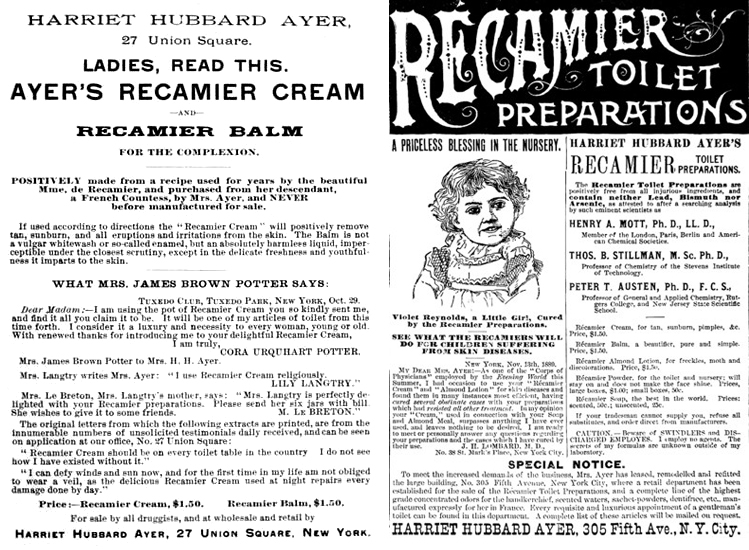 Ayer Récamier ads, 1887 and 1890