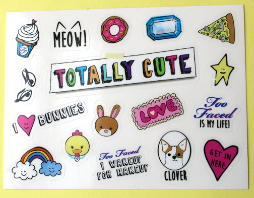 Too-Faced Totally Cute stickers