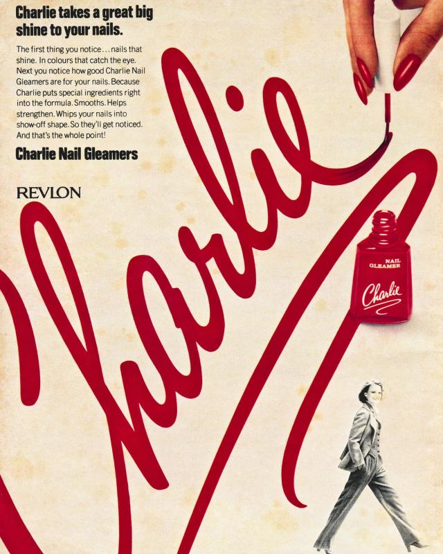 Revlon charlie nail gleamer ad, 1978