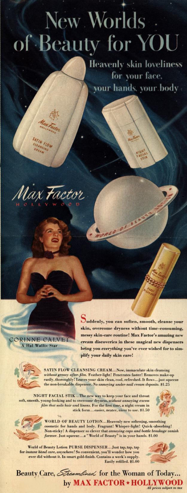 Max Factor ad - 1950