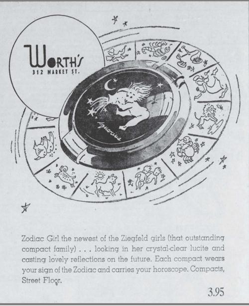 Ziegfeld Zodiac Girl compact ad, February 1946