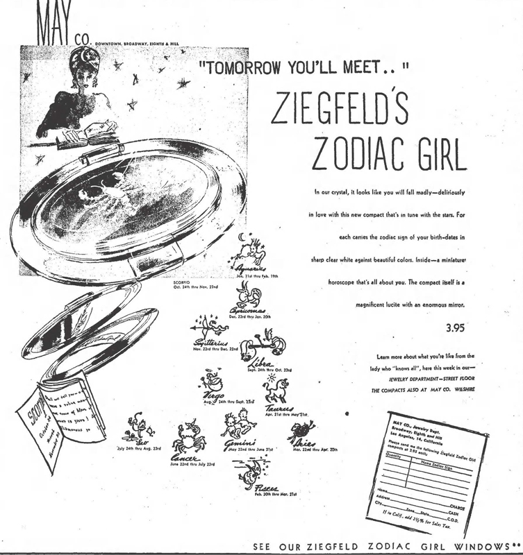 Ziegfeld Zodiac Girl compact ad, January 1946