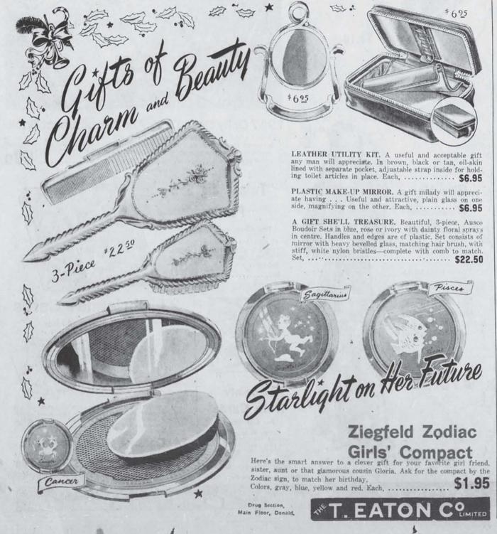 Ziegfeld Zodiac Girl compact ad, November 1946