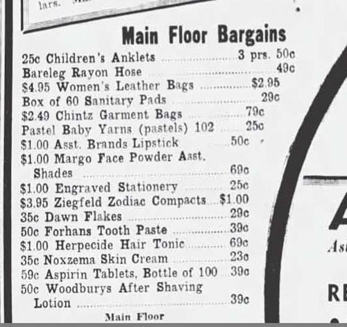 Ziegfeld Zodiac Girls ad, April 1947