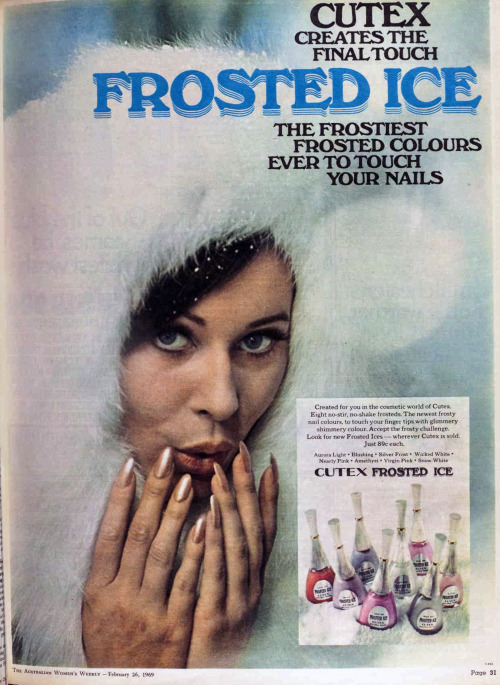 Cutex Frosted Ice ad, 1969
