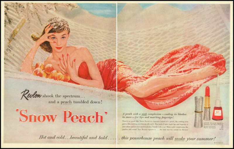 Revlon Snow Peach ad, 1956