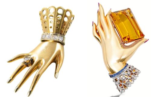 Paul Flato hand brooches