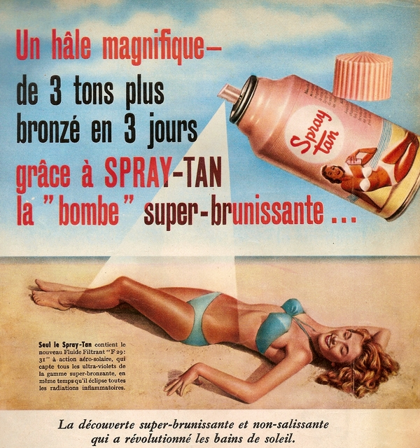 Spray tan ad, 1955