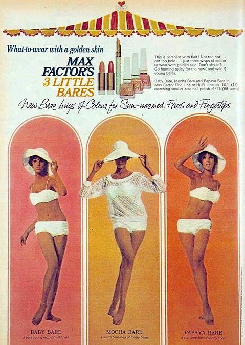 Ad for Max Factor 3 Little Bares, 1965
