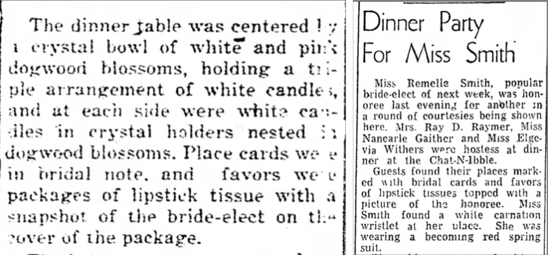 Lipstick tissue wedding favors, April 1951