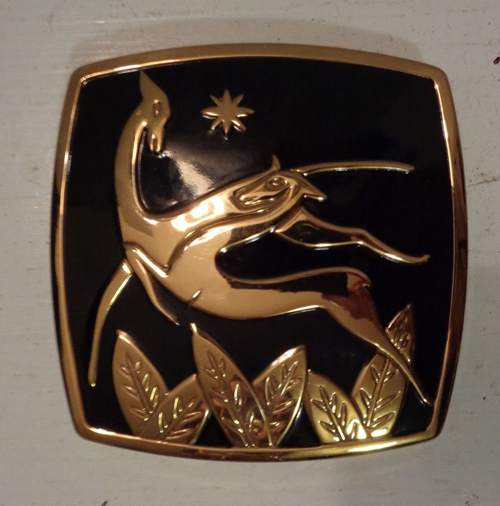 Elgin enamel compact with gazelles, ca. 1950