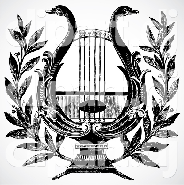 Swan lyre clip art