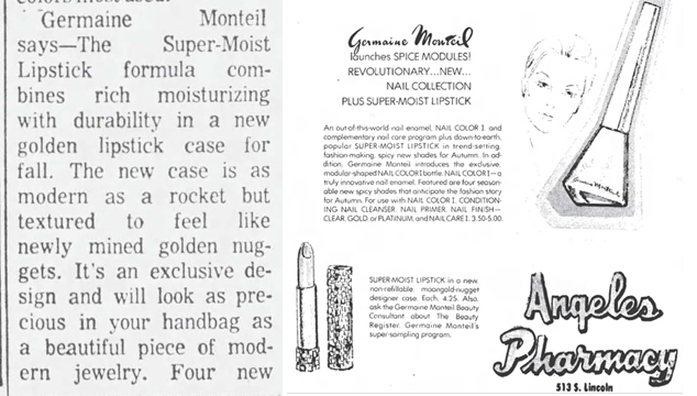 1974 Germaine Monteil newspaper ads