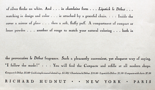 Richard Hudnut, Le Debut compact ad, 1928