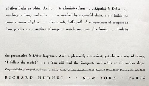 Richard Hudnut, Le Debut compact ad, 1928
