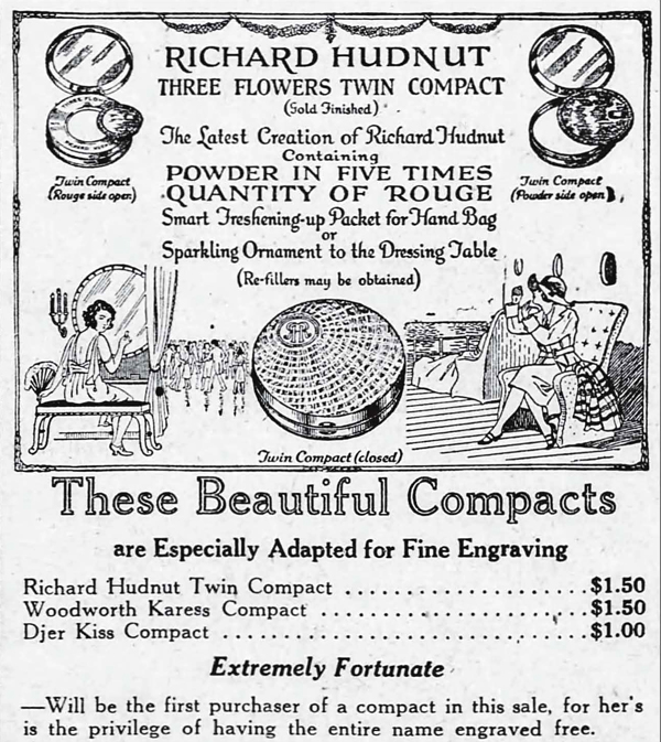 Richard Hudnut Three Flowers twin compact ad, 1922
